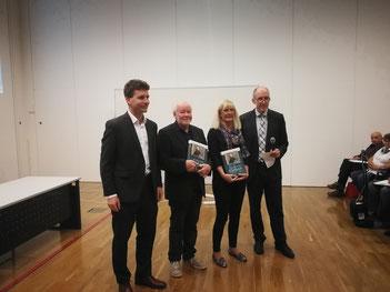 v.l.n.r Priv. Doz. OA Dr. Gabor Kovacs, Ing. Günther Wanke, Eva Otter, Univ. Prof. Dr. Horst Olschewski