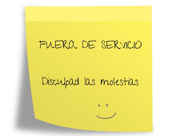 "Post it: ""Fuera de servicio"""