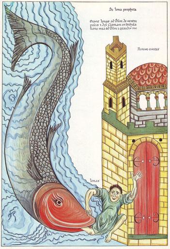 Jonas voor de poorten van Ninivé, uitgespuugd door de walvis. Herrad von Landsberg: Hortus Deliciarum