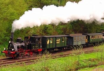 Das Kuckucksbähnel, beliebter Nostalgiezug ins Elmsteiner Tal. Fotos: Eisenbahnmuseum Neustadt