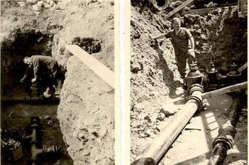 Josef und Erich Kühn beim Verlegen von Wasserleitungen in Malsch