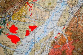 Pfeifenerde-Vorkommen bei Hagenau und am Ausgang des Murgtals (rot hervorgehoben)