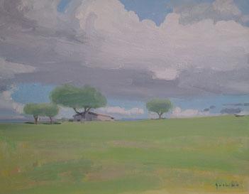 雲のある風景 10号油彩