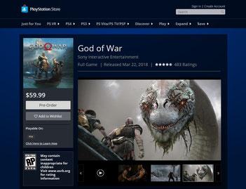 Im PlayStation Store war für kurze Zeit zu lesen, dass God of War für PS4 am 22. März 2018 im Handel erscheint. Bilderquelle: Sony