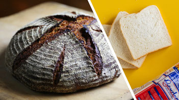 The image on the left was how we made bread for 9,900 years. The image on the right for the last 100 years.