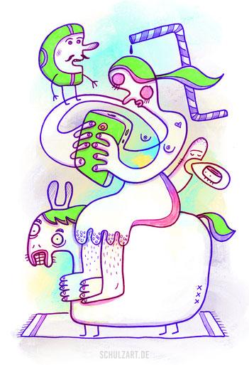 Zeichnung einer halbnackten Frau mit Smartphone auf einem Pferd sitzend