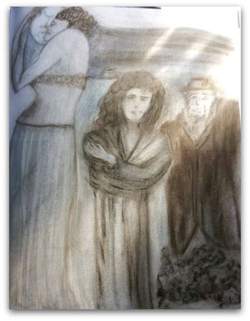 """Funeral"" sketch by Pam Waller"