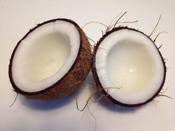 Offene Kokosnuss