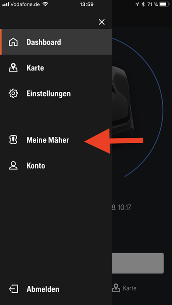 Husqvarna Automower Connect App Menü