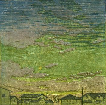 「暁月夜」 木版凹版凸版刷り 25x25cm