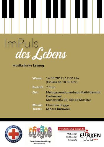 Image Design. Postkarte für eine musikalische Lesung mit Sandra Borowski & Christina Prigge. Von Funkenflug Design Münster.