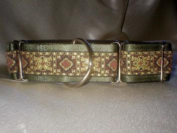 Martingale, Halsband, 4cm, Gurtband olivgrün, edele Borte
