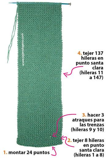 Cuello con trenzas de vainillas tejido en dos agujas o palitos