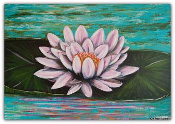 Moderne Malerei einer Seerose. Ein schönes florales Leinwandbild online kaufen.