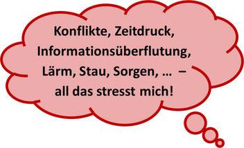 """""""Konflikte, Zeitdruck, Informationsüberflutung, Lärm, Stau, Sorgen, ... - all das stresst mich!"""" - MediTrigon Freiburg hilft"""