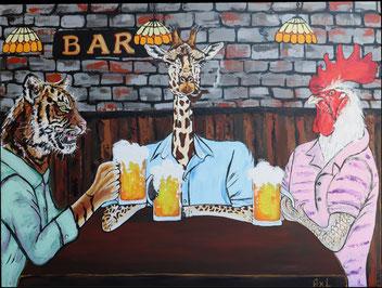 Animaux habillés tigre girafe coq bande de copains au bar à boire des bières