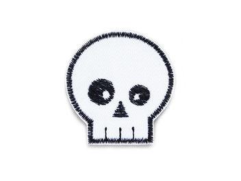 Totenkopf Patch zum aufbügeln, Piraten Aufnäher gestickt Accessoire Flicken