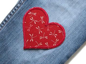 Bild: Herz Applikation weinrot Flicken Hosenflicken Libelle Aufbügler