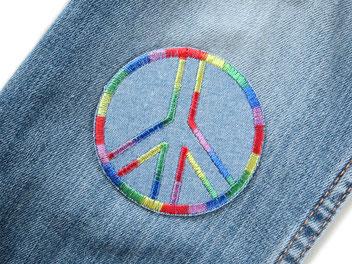 Bild: Jeansflicken Peace Applikation Aufnäher Hosenflicken