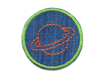 Bild: Jeansflicken zum aufbügeln Saturn Aufnäher orange grün