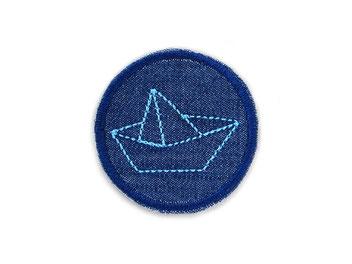 Jeans patch Jeansflicken mini Schiff Papierschiff Faltboot maritim