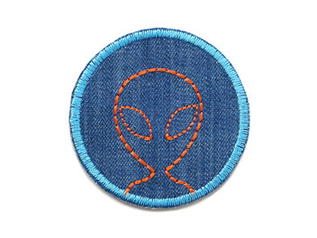 Bild: Jeansflicken Außerirdischer Alien Aufnäher