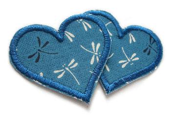 Bild: Herz Aufnäher zum aufbügeln, Flicken Hosenflicken Herz Libelle Aufbügler für Mädchen petrol