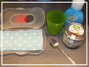 Zutaten für die Herstellung von selbstgemachten Feuchttüchern