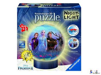 Bei der Bestellung im Onlineshop der-Wegweiser erhalten Sie das Ravensburger Paket 11141 Nachtlicht Puzzle-Ball Frozen 2.