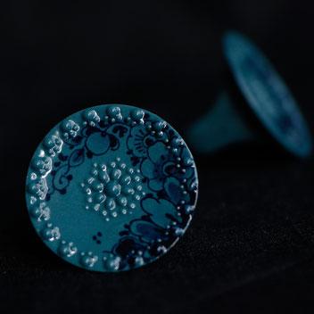 delfts blauw ring porselein, handbeschilderd, porseleinen sieraden, handgemaakte sieraden