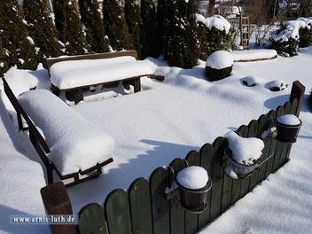 Ferienhaus Arnis Luth Terasse im Schnee, 03.03.2018