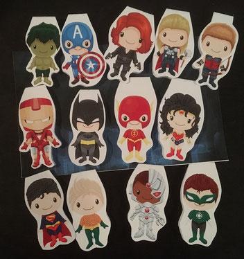 """4 von 13 Magnetlesezeichen """"Superhelden"""" mit Motiven von CuteGraphicSupply"""