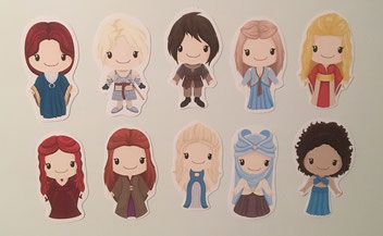 3 von 10 verschiedenen Magnete von den Game of Thrones-Ladies, Clipart by CuteGraphicSupply - cutegraphicsupply.etsy.com