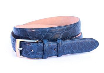 cintura pelle coccodrillo blu