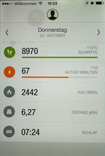 Das Dashboard der Runtastic Me App