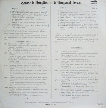 "Caratula posterior del trabajo ""Bilingual Love""."