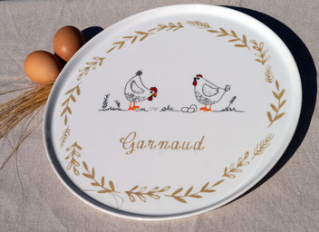 Plat à tarte personnalisé avec des poules