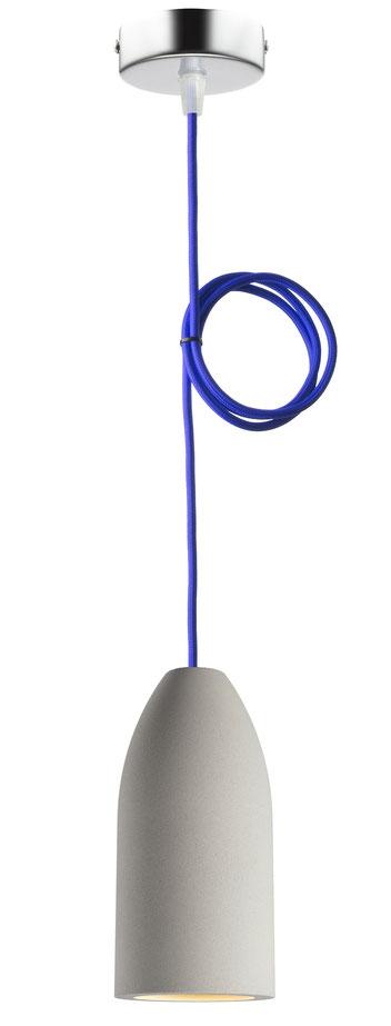 """Betonlampe mit Textilkabel """"Royalblau"""""""