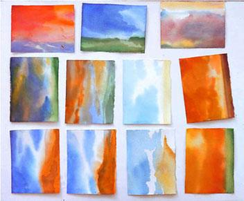 viele sehr kleine aquarelle künstlerische beratung einzelunterricht kunstkurse hamburg enno franzius