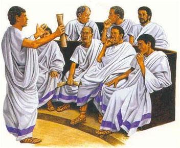 Senado Romano: Toga blanca con banda púrpura
