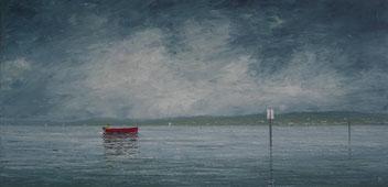 Der Himmel reißt auf, Bodensee (Öl auf Leinwand, 25 x 49 cm)