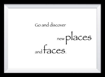 Typografie Poster Reisen, go and discover new faces and places