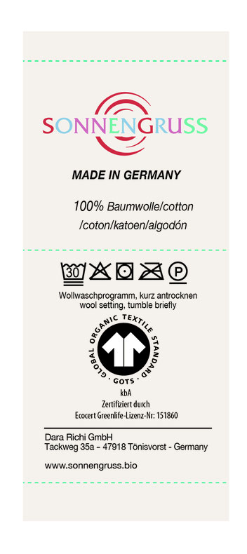 Sonnengruss Babydecke Pflegehinweise GOTS zertifiziert Bio-Baumwolle Made in Germany ökologisch fair