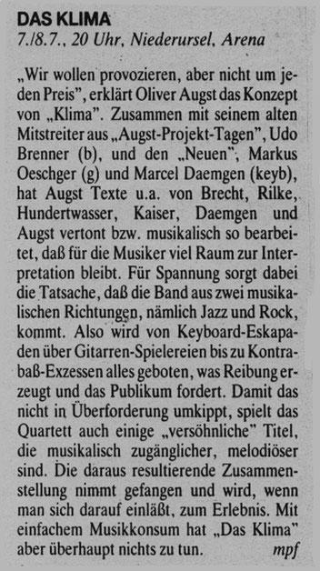 Auftritt, Juli 1989