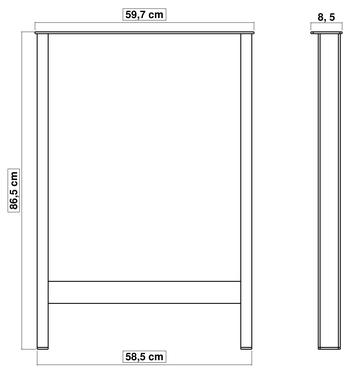 pied de table en métal pour cuisine 86 cm x 60 cm