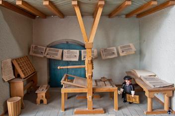 Modell einer alten Druckerei zur zeit Gutenbergs.