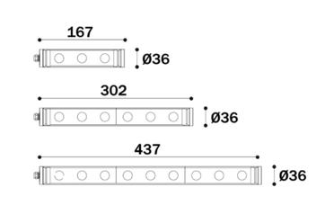 Abmessungen LED Maschinenleuchte T-LED