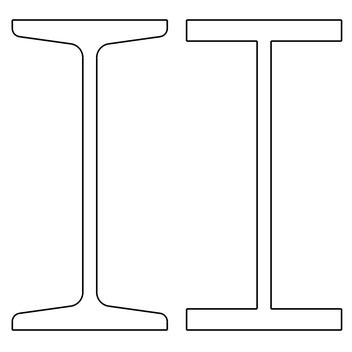 Abbildung 1: Links ein schmaler I-Träger  I100, rechts das vereinfachte Modell.