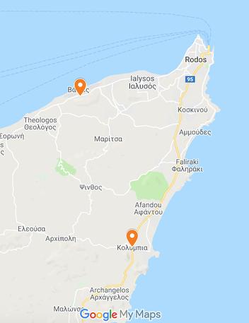 Die Orte Kolymbia und Paradisi auf der Karte von Google Maps