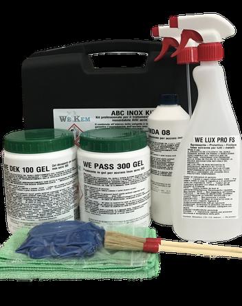 ABC INOX KIT sgrassaggio, decapaggio, passivazione, finitura della superficie, kit del buon decapatore
